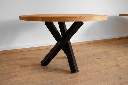 Tischgestell Stahl schwarz matt Tres 80x80 L600 für Glasplatten Tischgestell Küchentisch Esstisch Tischuntergestell X-Gestell