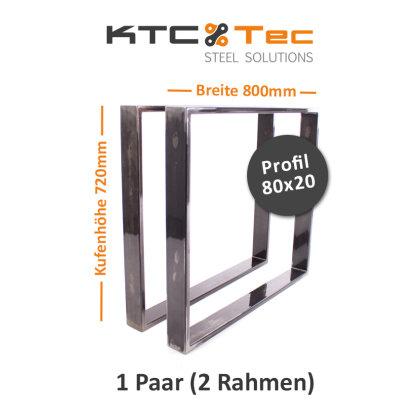 Tischgestell Rohstahl TR80k-800 breit Tischuntergestell Tischkufe Kufengestell (1 Paar)