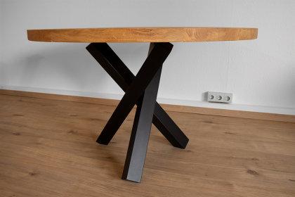 Tischgestell Stahl schwarz matt Tres 80x80 L600 für Holzplatten Tischgestell Küchentisch Esstisch Tischuntergestell X-Gestell