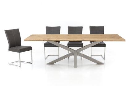 Kreuzgestell Edelstahl V2A GX80x80 L1850 Tischgestell Küchentisch Esstisch Tischuntergestell X-Gestell