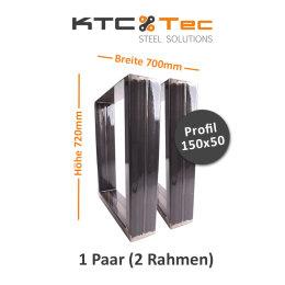 Tischgestell Rohstahl TUGk-700 breit Tischuntergestell Tischkufe Kufengestell (1 Paar)