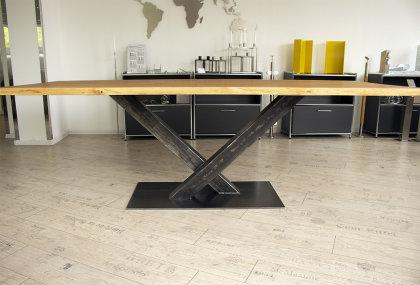 Kreuzgestell Rohstahl Klarlack matt Paris L1400 Tischgestell Küchentisch Esstisch Tischuntergestell X-Gestell