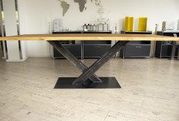 Kreuzgestell Rohstahl Paris Klarlack matt Stahl Tischgestell Küchentisch Esstisch Tischuntergestell X-Gestell einteilig Tischkufen Kufen
