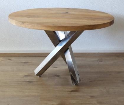 Tischgestell Edelstahl poliert Tres Design einteilig Kreuzgestell (Holztisch)