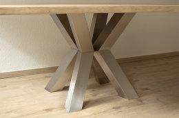 Kreuzgestell Edelstahl V2A XK 100x100 L650 Tischgestell rund Küchentisch Esstisch Tischuntergestell X-Gestell