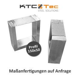 Bankgestell Edelstahl TUG 150x50-400/380 40/38 cm Bankuntergestell Bankkufen Kufengestell Sitzbank Bank (1 Paar)