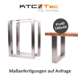 Bankgestell Edelstahl TU 100x40-450/500 45x50cm Bankuntergestell Bankkufen Kufengestell Sitzbank Bank (1 Paar)
