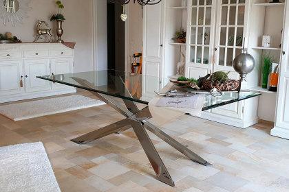 Kreuzgestell Edelstahl V2A poliert GX 100x40 L1620 Spider Esstisch Tischgestell Wohnzimmer Tisch Küchentisch Tischuntergestell X-Gestell