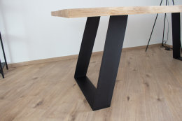 Tischgestell Stahl TGFe 150x10 sms 700 (550) schwarz Trapez eckig schräg Metall Tischuntergestell Tischkufe Kufengestell Tischbeine Tischfuß Industriedesign Esstisch Schreibtisch (1 Paar)