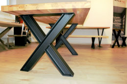 Tischgestell Stahl schwarz matt Struktur Doppel...