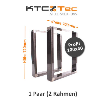 Tischgestell Rohstahl TU100k-700 breit Tischuntergestell Tischkufe Kufengestell (1 Paar)