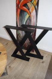 Tischgestell Stahl TUXII80x20-735/600(450) schwarz matt Struktur (1 Paar)