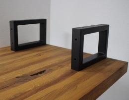 Waschbecken Konsole Stahl schwarz matt Träger 50x30mm 5x3cm Waschtisch Wandkonsole Industriedesign Vintage Regalhalter Konsolenhalterung Gestell (1 Paar)