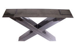 Tischgestell Rohstahl klarlack TUXk-690 breit Tischuntergestell Tischkufe Kufengestell (1 Paar)