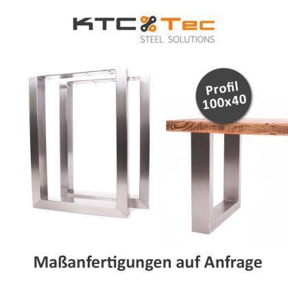 Bankgestell Edelstahl TU 100x40-400/400 40x40cm Bankuntergestell Bankkufen Kufengestell Sitzbank Bank (1 Paar)