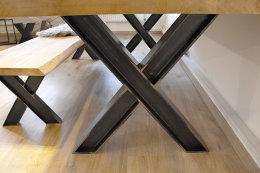 Tischgestell Rohstahl Klarlack matt Doppel T-Träger HEB100 TUX L700 Vollmaterial Metall Tischuntergestell Tischkufe Kufengestell Tischbeine Tischfuß Industriedesign Esstisch Schreibtisch