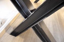 Set Tischgestell + Bankgestell Set Rohstahl Klarlack matt TUX Doppel T-Träger Stahl Vollmaterial Metall Tischuntergestell Tischkufe Kufengestell Bank Sitzbank Industrielook Esstisch Schreibtisch