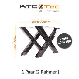 Tischgestell Rohstahl klarlack TUXk-790 breit Tischuntergestell Tischkufe Kufengestell (1 Paar)