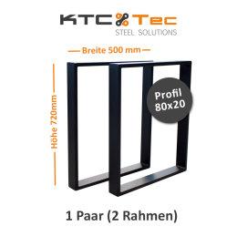 Tischgestell schwarz matt TR80sms-500 breit...