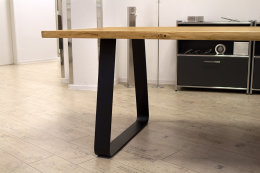 Tischgestell Stahl schwarz matt Struktur TGF 100x10 sms 900 (650) Trapez rund gebogen Tischkufe, 2 Stk