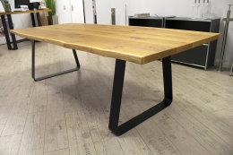 Tischgestell Stahl schwarz matt Struktur TGF 100x10 sms 700 (550) Trapez rund gebogen Tischkufe, 2 Stk