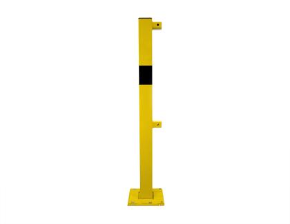 Rammschutzgeländersystem Endpfosten70x70-1000mm mit Oberholm & Knieholm zur Ortsfesten Montage aus Stahl gelb pulverbeschichtet mit schwarzen Streifen (1 Stück)
