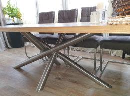 Kreuzgestell Edelstahl V2A MIRONDO80x80x3mm extra stark H680xL1600 Tischgestell Küchentisch Esstisch Tischuntergestell X-Gestell