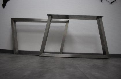 Tischgestell Edelstahl TU100x40-583/948(780) Trapez geschliffen K240 (1 Paar)