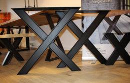 Tischgestell Stahl schwarz matt Doppel T-Träger IPE80 TUX H720xB700mm Tischuntergestell Tischkufe Kufengestell Tischbeine Tischfuß Industriedesign Esstisch Schreibtisch