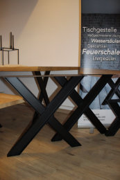 Tischgestell Stahl schwarz matt Doppel T-Träger...