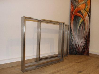Tischgestell Edelstahl V2A TR80x20 H720xB790 mit Innenrahmen geschliffen K240 Tischgestestell Kufen Tischuntergestell Tischbeine