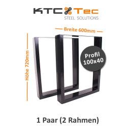Tischgestell schwarz TU100s-600 breit Tischuntergestell Tischkufe Kufengestell (1 Paar)