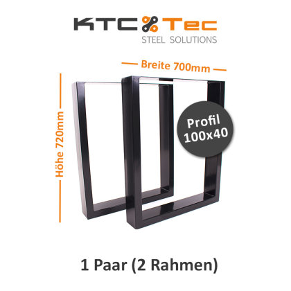 Tischgestell schwarz TU100s-700 breit Tischuntergestell Tischkufe Kufengestell (1 Paar)