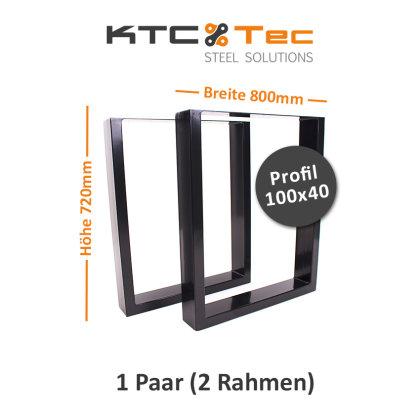 Tischgestell schwarz TU100s-800 breit Tischuntergestell Tischkufe Kufengestell (1 Paar)