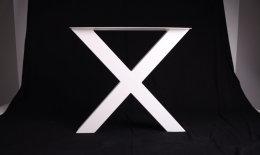 Tischgestell Stahl weiß matt TUXwms 100x100 500 Tischkufe Kreuz X-Gestell Tischuntergestell 1 Paar