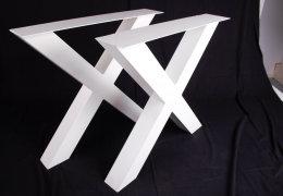 Tischgestell Stahl weiß matt TUXwms 100x100 600 Tischkufe Kreuz X-Gestell Tischuntergestell 1 Stk
