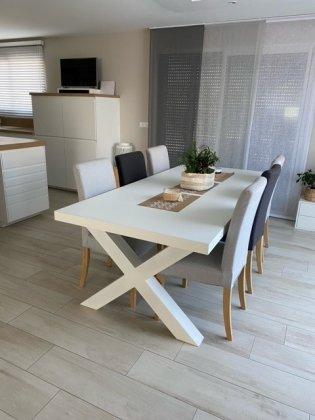 Tischgestell Stahl weiß matt TUXwms 100x100 1000 Tischkufe Kreuz X-Gestell Tischuntergestell 1 Stk