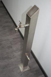 Brauchwassersäule Edelstahl SQS-1040mm mit Zulauf rechtsseitig geschliffen K240 (1 Stück)