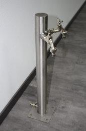 Brauchwassersäule Edelstahl SRG-650mm K240 geschliffen mit zwei Auslaufhähnen (1 Stück)