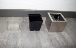 Pflanztopf Edelstahl UNO-130x120mm K240 geschliffen (1 Stück)