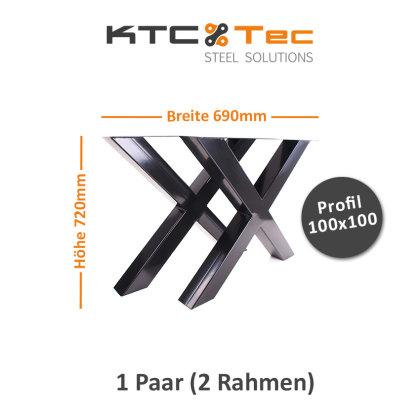 Tischgestell schwarz TUXs-690 breit Tischuntergestell Tischkufe Kufengestell (1 Paar)