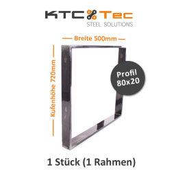 Tischgestell Rohstahl TR80k-500 breit Tischuntergestell Tischkufe Kufengestell (1 Rahmen)