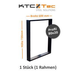 Tischgestell schwarz matt TR80sms-600 breit...