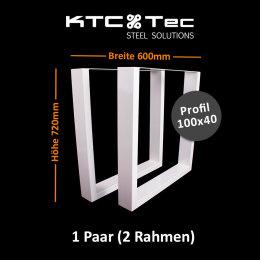 Tischgestell weiß TU100w-600 breit Tischuntergestell Tischkufe Kufengestell (1 Paar)