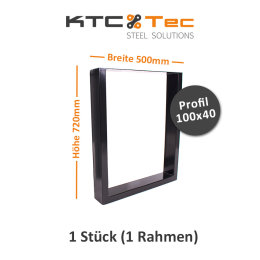Tischgestell schwarz TU100s-500 breit Tischuntergestell Tischkufe Kufengestell (1 Rahmen)