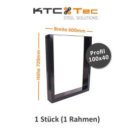 Tischgestell schwarz TU100s-600 breit Tischuntergestell...